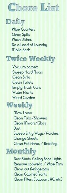 If only taking care of chores were as easy as making this list: family chore list Cleaning Checklist, Cleaning Hacks, Cleaning Schedules, Daily Cleaning, Diy Hacks, Cleaning Rota, Chore Checklist, Chore Schedule, Clean House Schedule