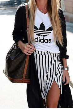 An Edgy Skirt With a Sporty Tee