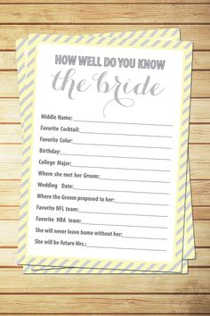 Printable Bridal Shower Game How Well Do You by LoveMeetDesign, $8.50