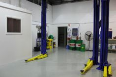 New Hoists and office, floor painted, looking pretty amazing from what we started with