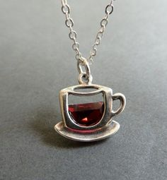 Coffee Cup Necklace. Cup of Coffee or Tea Pendant. Sterling Silver Tea Cup…