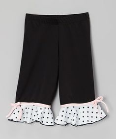 Love this Black Ruffle Bow Capri Pants - Toddler & Girls by Ferreira on #zulily! #zulilyfinds