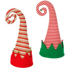"""18"""""""" Christmas Elf Hat Tree Topper - Choice of Red/White Striped or Red/Green/White Striped (3516122) - 18"""""""" x 9"""""""""""