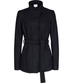 Womens Navy Belted High-neck Coat - Reiss Chianti