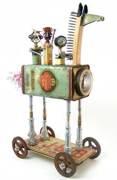 """""""Trojan Horse Joyride"""" Height: 23"""" Principal Components: Candy tin, sample tooth powder, talc, and foot powder tins, wire brushes, s..."""