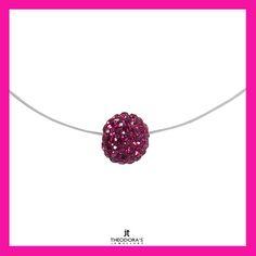 Handmade discreet silver choker fuchsia Swarovski necklace on a transparent line with clasp made of sterling silver 925o. Emphasize your appearance with a beautiful Swarovski necklace.  --------------------------------------------------------Χειροποίητο διακριτικό ασημένιο τσόκερ κολιέ Swarovski (σβαρόφσκι) φούξια μπάλα σε διάφανη πετονιά με κούμπωμα από επιπλατινωμένο ασήμι 925ο