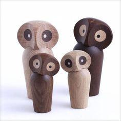 Danish Wooden Owl Sculptures