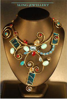 Aqua Glass Swarovski Crystal And Turquoise Wire Necklace Jewelry