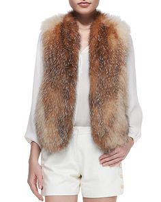 B2QYR Tamara Mellon Fox Fur Vest