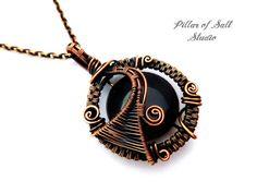 Wire Wrapped pendant / copper jewelry / woven wire jewelry by PillarOfSaltStudio