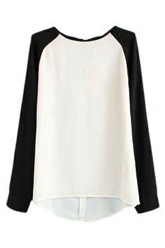 ROMWE Color Block Asymmetric White and Black Blouse