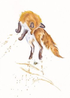 RED FOXES / CUBS: ORIGINAL WATERCOLOUR PAINTING: GreyPepperArt