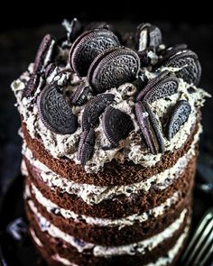 Salted Caramel Fudge, Oreo Cake, Plated Desserts, Cookie Dough, Baking Recipes, Bakery, Sweet Treats, Food And Drink, Birthday Cake