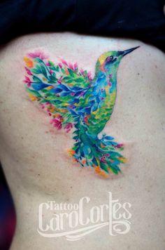 HUMMINGBIRD FUSION - FUSION COLIBRÍ /Caro cortes Colombian tattoo artist. carocortes.tumblr.com www.carocortes.com/ #hummingbird #flower #fusion #colibri #tattoo #carocortes