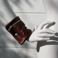 Cognac Leather Wrist Cuff Bag by jackierobbinsdesigns on Etsy, $55.00
