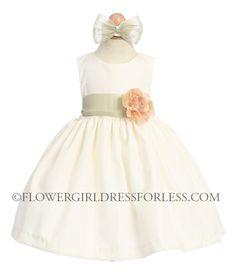 Girls Dress Style 519 - Poly Silk Dress in Choice of White or Ivory - BUILD YOUR OWN $39.99