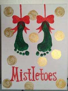 Mistletoes footprint art Crafts DIY Christmas Gifts for Dads on a Budget - Shadow Boxes Kids Crafts, Daycare Crafts, Baby Crafts, Preschool Crafts, Baby Footprint Crafts, Infant Crafts, Daycare Rooms, Infant Art Projects, Christmas Activities