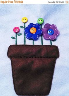 VALENTINE SALE Felt Learn to button flower pot game with roll up mat and ribbon tie to hold all the pieces- educational game learning toy