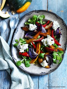 Roasted squash and apple salad with truffled goats' cheese. Photograph: Karen Thomas