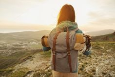 Hiker woman walking outdoor by Remains on Creative Market