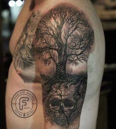 Black and Grey realistic tree and skull tattoo by Francisco Sanchez at Dark Age . Black and Grey realistic tree and skull tattoo by Francisco Sanchez at Dark Age Tattoo Studio in Denton, TX, North o Tree Sleeve Tattoo, Tree Tattoo Men, Nature Tattoo Sleeve, Tree Tattoo Designs, Skull Tattoo Design, Skull Tattoos, Black Tattoos, Sleeve Tattoos, Tattoo Nature