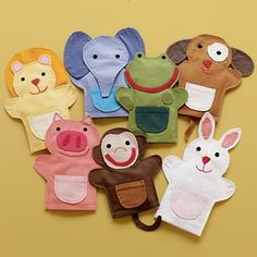 Kids' Imaginary Play: Kids Multi Colored Animal Hand Puppets these are from crate and barrel, but I think I could make these. Felt Puppets, Felt Finger Puppets, Sewing For Kids, Diy For Kids, Crafts For Kids, Baby Crafts, Felt Crafts, Animal Hand Puppets, Operation Christmas Child
