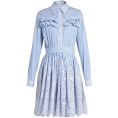 Miu Miu Striped ruffle-trimmed cotton-poplin dress (32.076.555 VND) ❤ liked  on Polyvore featuring dresses 3edeade159b