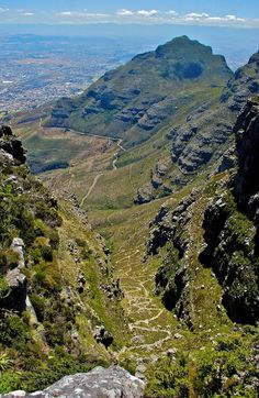 View down Platteklip Gorge - Table Mountain - Cape Town. Put this on your Cape Town bucket list! Namibia, Cape Town South Africa, Table Mountain, Out Of Africa, Africa Travel, Places To See, Live, Congo, Beautiful Places