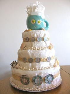 """Ahoy Its A Boy"" beach/nautical diaper cake for baby shower."