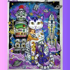 Inspirational Coloring Pages by @sato_mandy #gatos #cats #spacecat #inspiração…