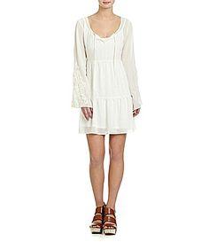 GB Chiffon Babydoll CrochetSleeve Dress #Dillards