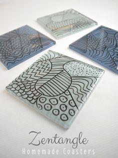 zentangle coasters craft idea