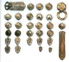 century belt mounts from Vereb,Fejér,Hungary Early Middle Ages, Ancient Vikings, Archaeological Finds, Viking Age, Viking Jewelry, Dark Ages, Ancient Civilizations, Studs, Bronze