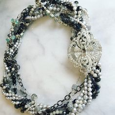 Custom Layered Gemstone and Freshwater Pearl Bridal Statement Necklace http://everistta.com/ooak-bridal-necklaces/custom-layered-statement-necklace