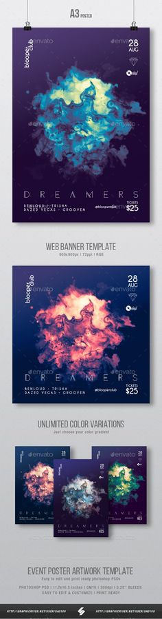 Dreamers - Progressive Party Flyer / Poster Artwork Template A3