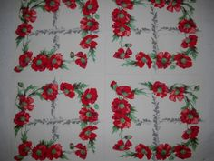 Vintage Wilendur Red Poppies Tablecloth