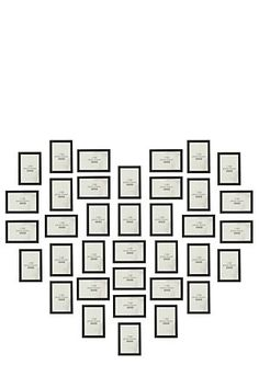 """Dont like the heat shape bit great simple frame collection. This box set includes 36 frames that hold a 10x15cm photograph, instruction sheet and heart shape template on how to display this collage on your wall.<div class=""""pdpDescContent""""><BR /><b class=""""pdpDesc"""">Dimensions:</b><BR />L22.5xW1xH24 cm</div>"""