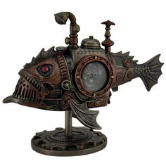 Hand Painted Steampunk Submarine Sci-fi Fantasy Statue ($80) ❤ liked on Polyvore featuring home, home decor, steampunk home decor and submarine