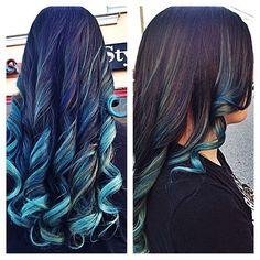 Brunette & turquoise ombré
