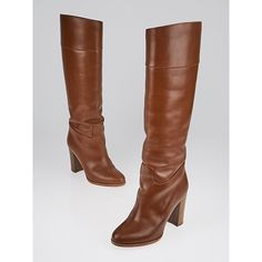 Pre-owned Christian Louboutin Brown Leather Dartata 70 Tall Boots ($395) ❤ liked on Polyvore featuring shoes, boots, mid-calf boots, christian louboutin boots, thigh-high boots, chunky knee high boots, brown boots and leather boots