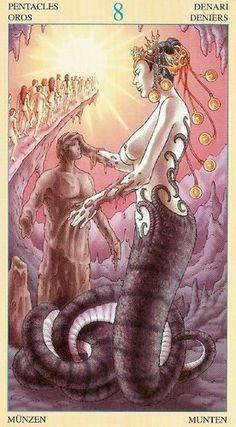8 of Pentacles - Universal Goddess Tarot Tarot Card Decks, Pentacle, Oracle Cards, Occult, Renaissance, Erotic, Religion, Fan Art, Gallery