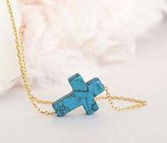 Turquoise Sideways Cross Charm Necklace