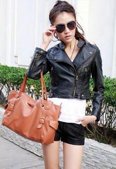 Faux leather short jacket black md