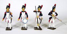 Tambour avec tambour dans le dos (ref. 0026-007) Tambour avec tambour sur la cuisse (ref. 0026-008) Grenadier rechargeant son fusil (ref. 0026-009) Grenadier armant le chien de son fusil (ref. 0026-012) Tambour, Soldiers, Thigh, Dog