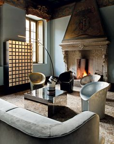 mix of classic and modern styles interior with fireplace