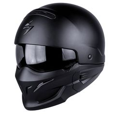 Check out the Scorpion Matt Black EXO Combat Motorcycle Flip-Up Helmet, available now at FreestyleXtreme Open Face Motorcycle Helmets, Combat Helmet, Open Face Helmets, Motorcycle Gear, Exo, Tmax Yamaha, Transformers, Moto Scrambler, Flip Up Helmet