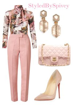 """""""Pink"""" by spivey-adrian ❤ liked on Polyvore featuring Dolce&Gabbana, Orla Kiely, Christian Louboutin, Chanel and Alexis Bittar"""