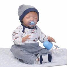 """22"""" Soft Body Silicone Reborn Sleeping Doll Soft Vinyl Lifelike Newborn Baby Boy"""