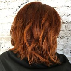 40 Fresh Trendy Ideas for Copper Hair Color - Wavy Copper Bob Hairstyle - Red Ombre Hair, Bright Red Hair, Red Hair Color, Hair Colors, Ombre Bob, Copper Red Hair, Gold Hair, Short Copper Hair, Balliage Hair