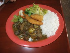 Stewed mutton from Trenchtown Rock Restaurant on St Thoms, US Virgin Islands
